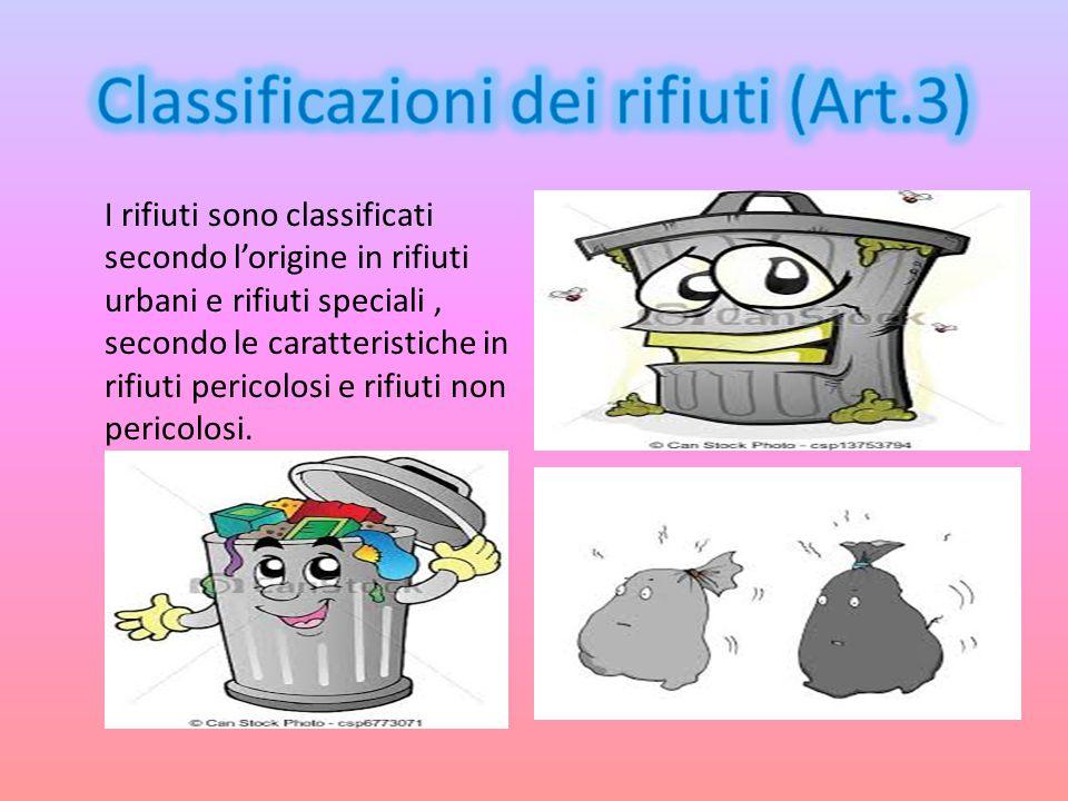 Classificazioni dei rifiuti (Art.3)