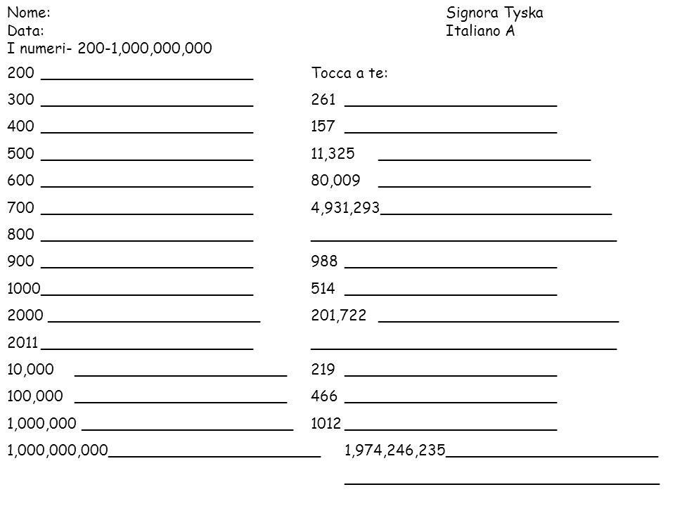 Nome: Signora Tyska Data: Italiano A. I numeri- 200-1,000,000,000. 200 _______________________ Tocca a te: