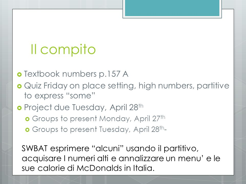 Il compito Textbook numbers p.157 A