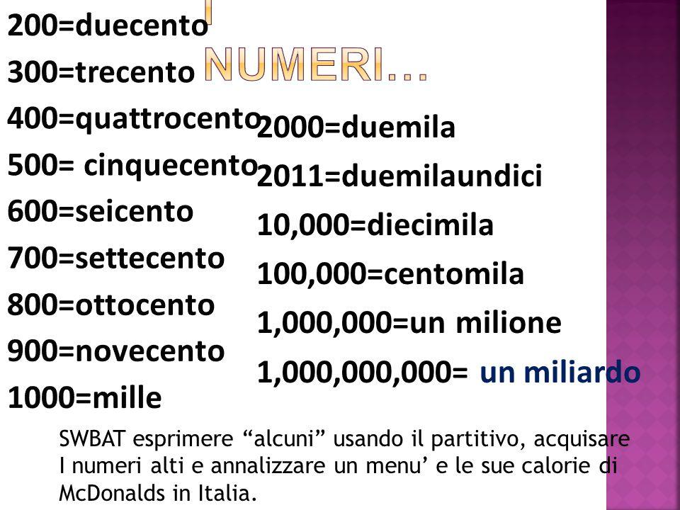 200=duecento 300=trecento 400=quattrocento 500= cinquecento 600=seicento 700=settecento 800=ottocento 900=novecento 1000=mille