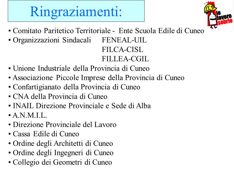 Ringraziamenti:Comitato Paritetico Territoriale - Ente Scuola Edile di Cuneo. Organizzazioni Sindacali FENEAL-UIL.