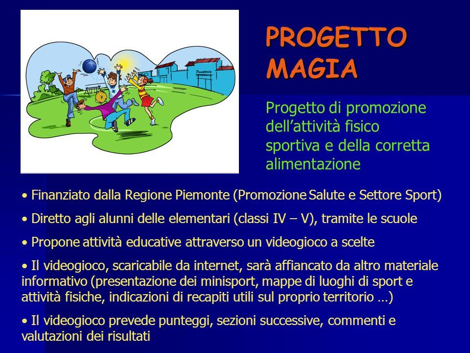 PROGETTO MAGIA Progetto di promozione dell'attività fisico sportiva e della corretta alimentazione.