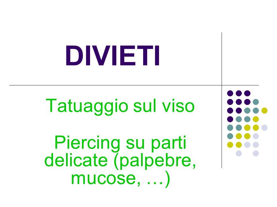 Tatuaggio sul viso Piercing su parti delicate (palpebre, mucose, …)