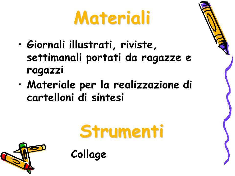 Materiali Giornali illustrati, riviste, settimanali portati da ragazze e ragazzi. Materiale per la realizzazione di cartelloni di sintesi.