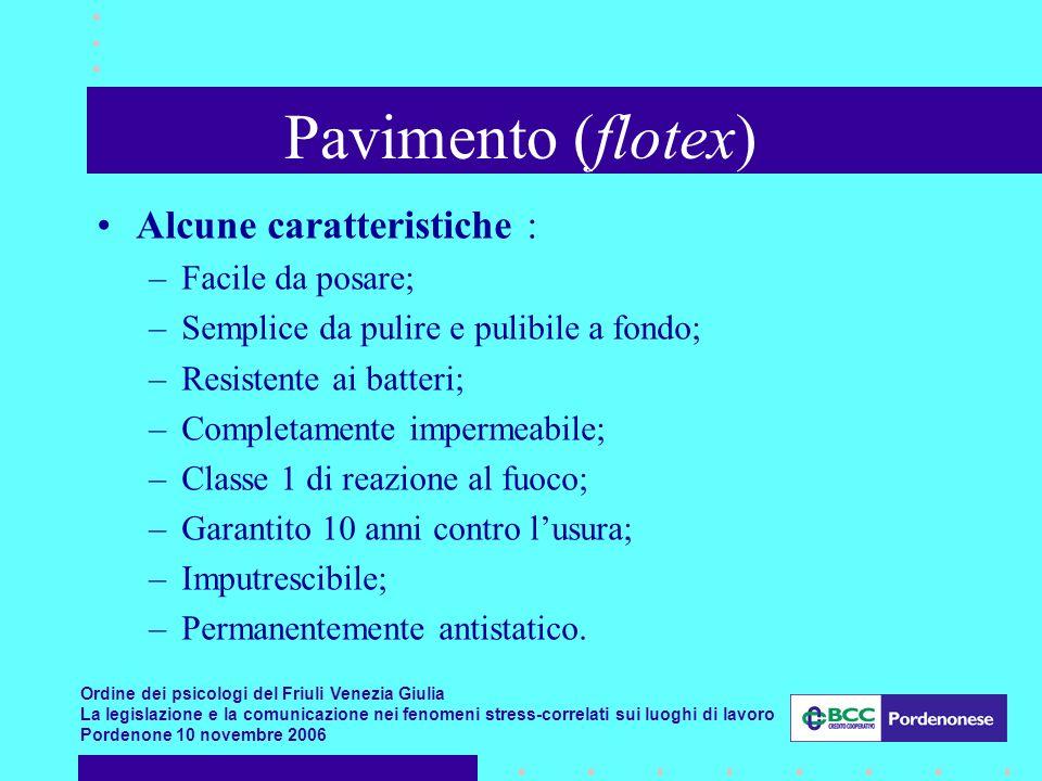 Pavimento (flotex) Alcune caratteristiche : Facile da posare;