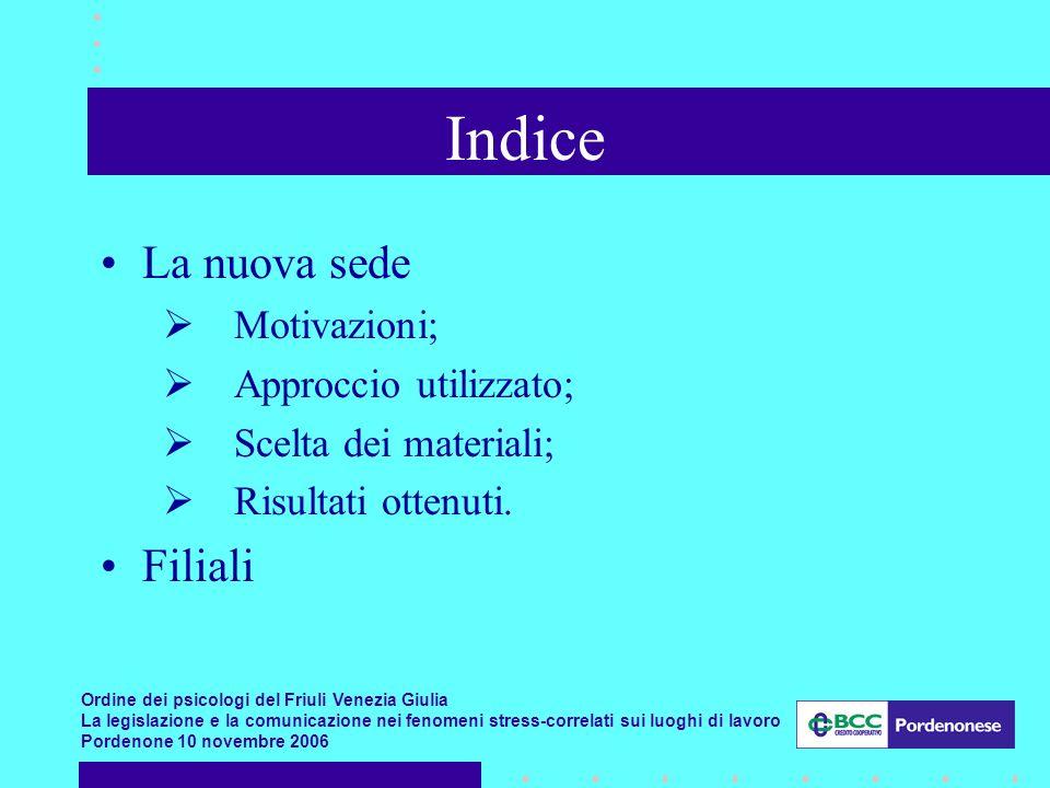 Indice La nuova sede Filiali Motivazioni; Approccio utilizzato;