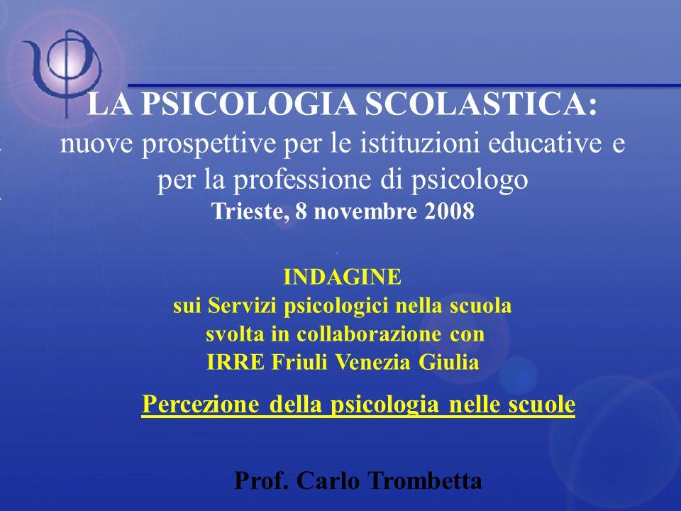 Percezione della psicologia nelle scuole Prof. Carlo Trombetta