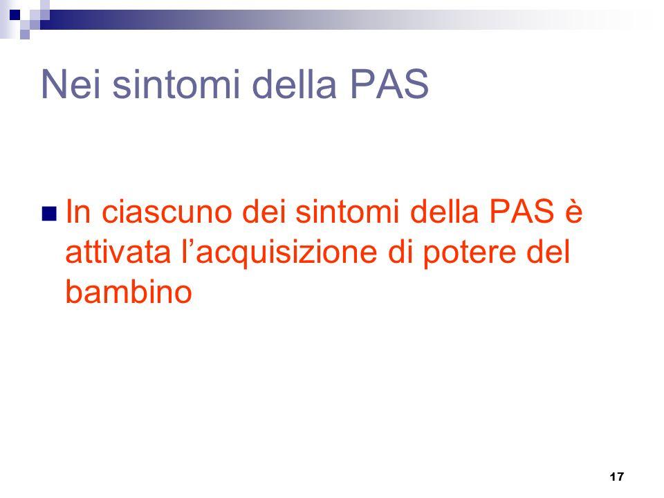 Nei sintomi della PAS In ciascuno dei sintomi della PAS è attivata l'acquisizione di potere del bambino.