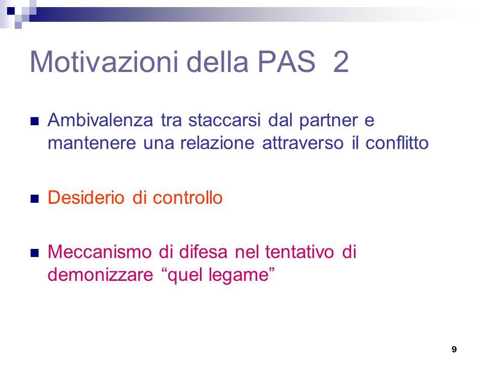 Motivazioni della PAS 2 Ambivalenza tra staccarsi dal partner e mantenere una relazione attraverso il conflitto.