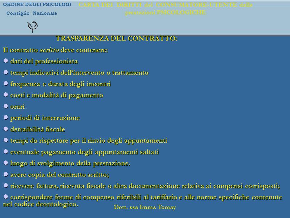TRASPARENZA DEL CONTRATTO: Il contratto scritto deve contenere: