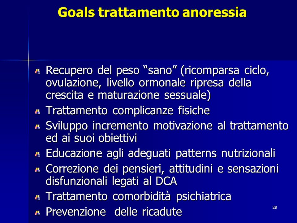 Goals trattamento anoressia