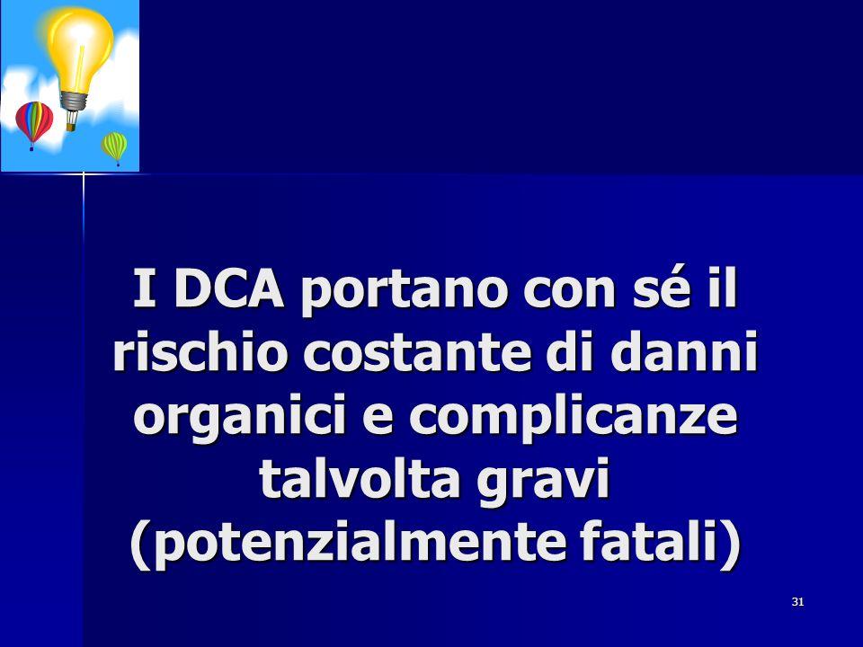 I DCA portano con sé il rischio costante di danni organici e complicanze talvolta gravi (potenzialmente fatali)