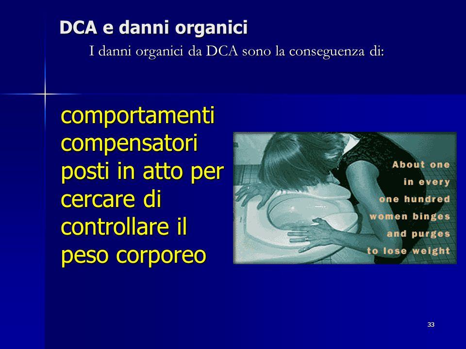 I danni organici da DCA sono la conseguenza di: