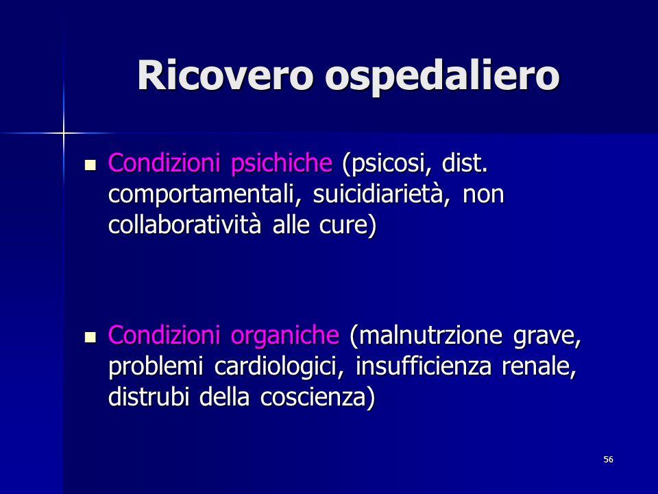 Ricovero ospedaliero Condizioni psichiche (psicosi, dist. comportamentali, suicidiarietà, non collaboratività alle cure)