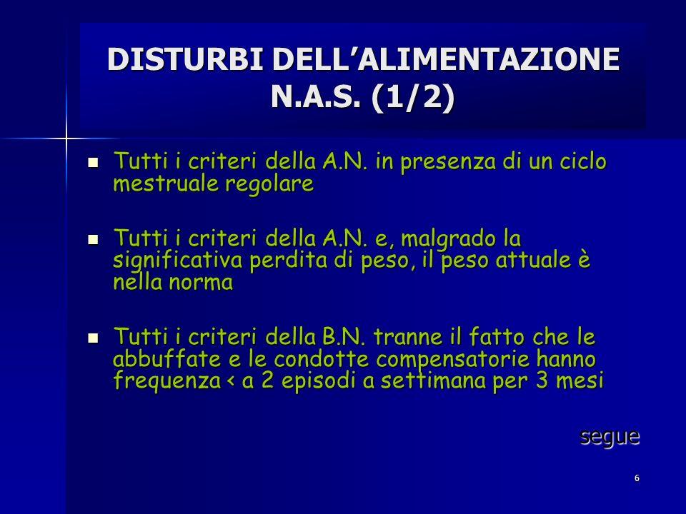 DISTURBI DELL'ALIMENTAZIONE N.A.S. (1/2)