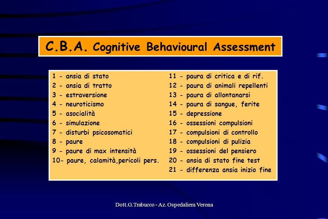 C.B.A. Cognitive Behavioural Assessment