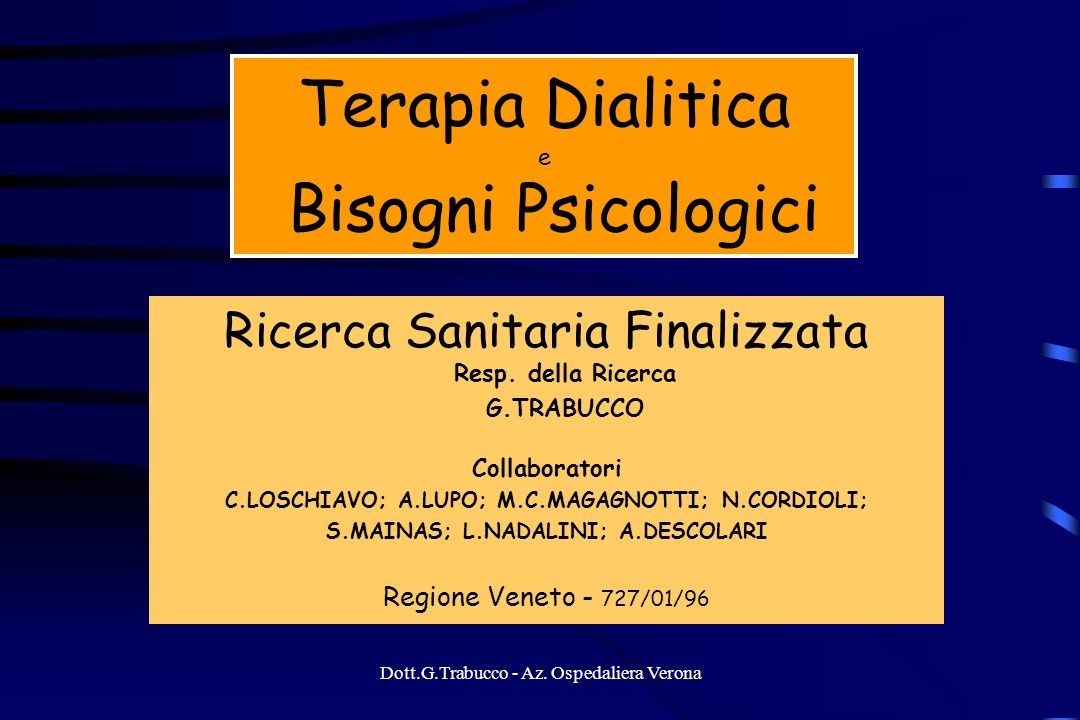 Terapia Dialitica e Bisogni Psicologici