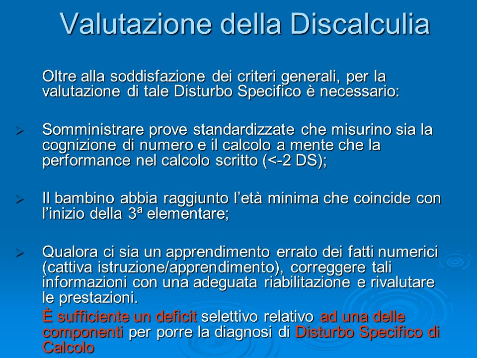 Valutazione della Discalculia