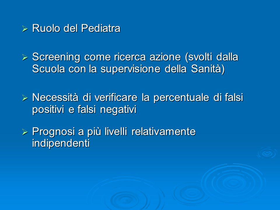 Ruolo del Pediatra Screening come ricerca azione (svolti dalla Scuola con la supervisione della Sanità)