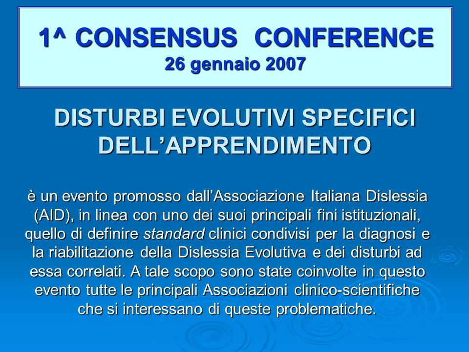 DISTURBI EVOLUTIVI SPECIFICI DELL'APPRENDIMENTO