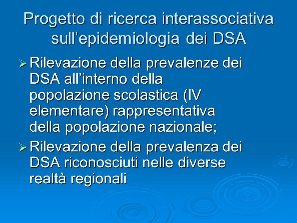Progetto di ricerca interassociativa sull'epidemiologia dei DSA