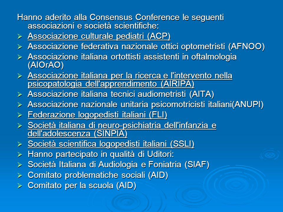 Hanno aderito alla Consensus Conference le seguenti associazioni e società scientifiche: