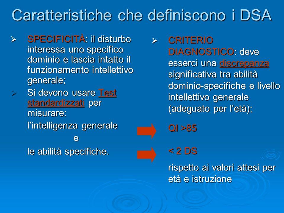 Caratteristiche che definiscono i DSA