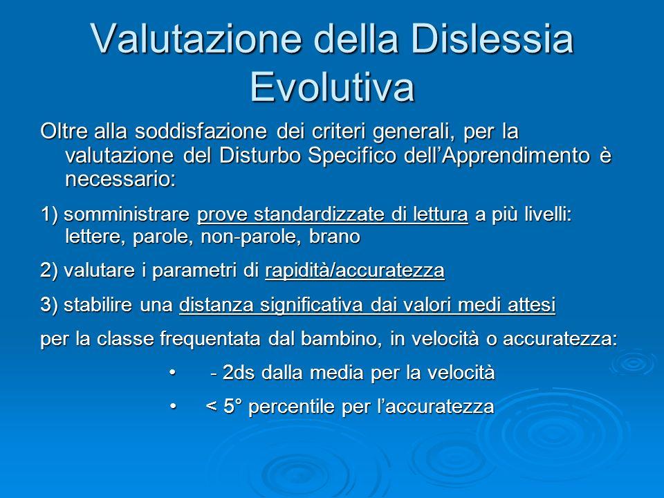 Valutazione della Dislessia Evolutiva