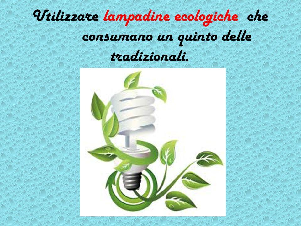 Utilizzare lampadine ecologiche che consumano un quinto delle tradizionali.