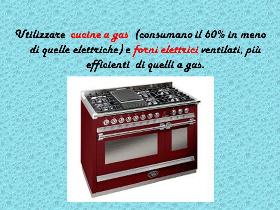 Utilizzare cucine a gas (consumano il 60% in meno di quelle elettriche) e forni elettrici ventilati, più efficienti di quelli a gas.