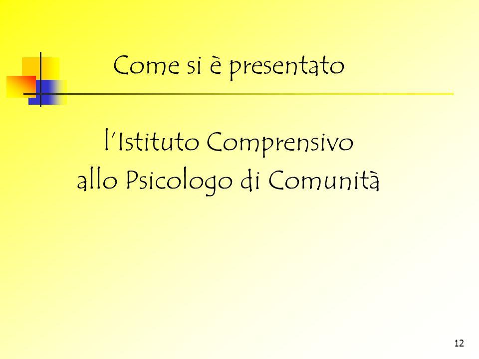 l'Istituto Comprensivo allo Psicologo di Comunità