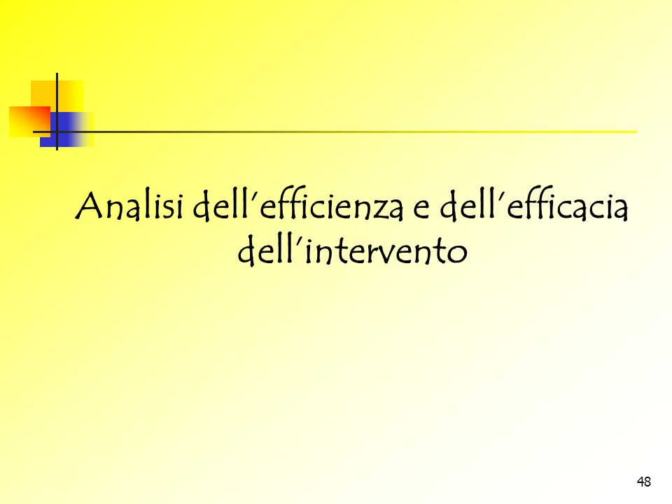 Analisi dell'efficienza e dell'efficacia dell'intervento