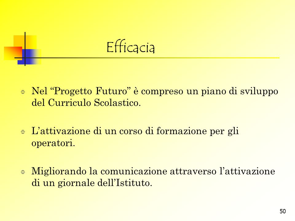 Efficacia Nel Progetto Futuro è compreso un piano di sviluppo del Curriculo Scolastico. L'attivazione di un corso di formazione per gli operatori.