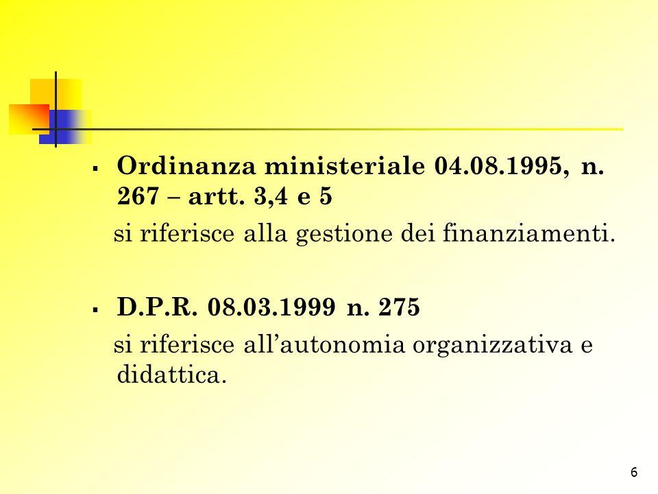 Ordinanza ministeriale 04.08.1995, n. 267 – artt. 3,4 e 5