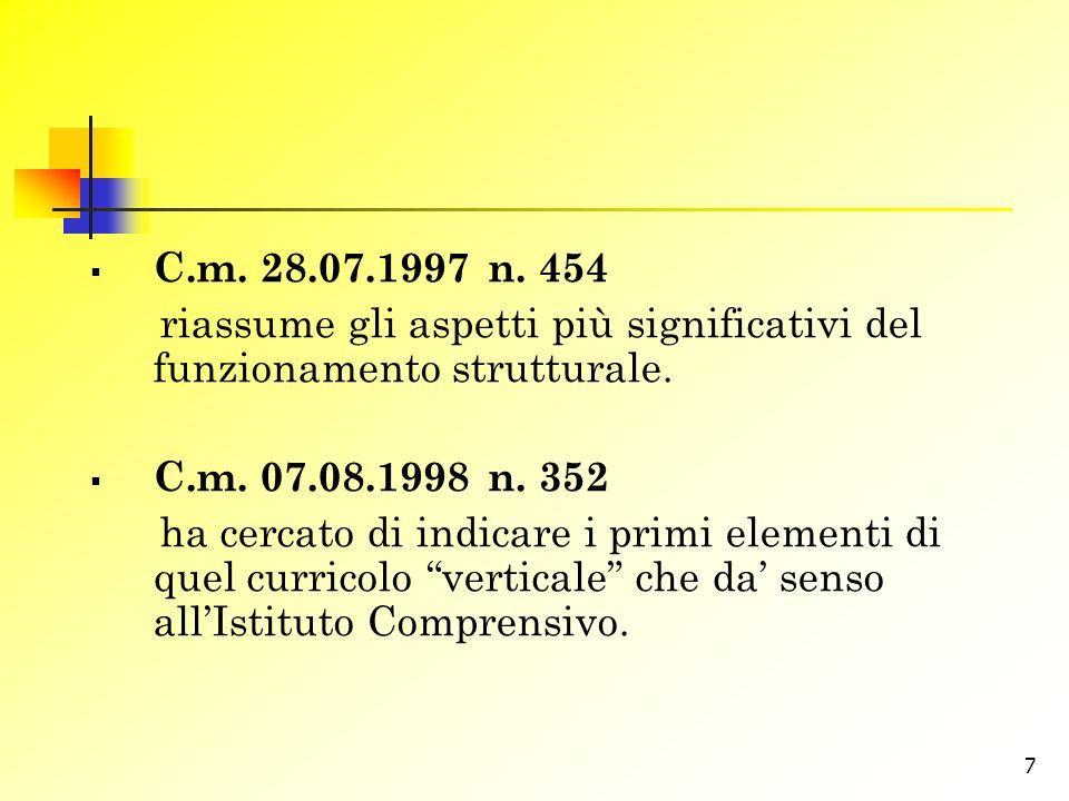 C.m. 28.07.1997 n. 454 riassume gli aspetti più significativi del funzionamento strutturale. C.m. 07.08.1998 n. 352.