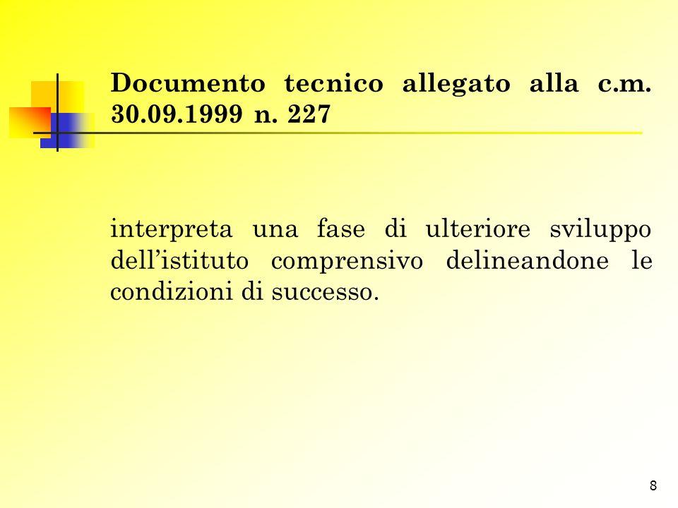Documento tecnico allegato alla c.m. 30.09.1999 n. 227