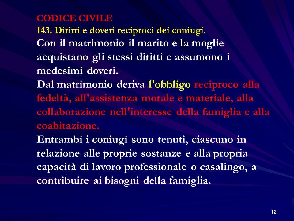 CODICE CIVILE 143. Diritti e doveri reciproci dei coniugi.