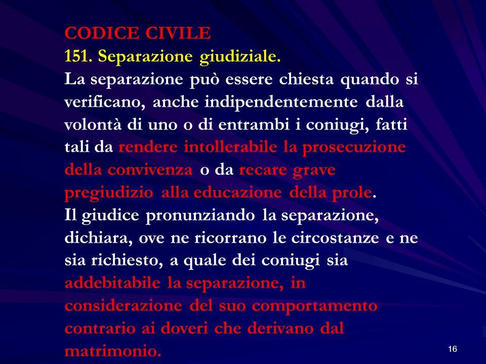 CODICE CIVILE 151. Separazione giudiziale.