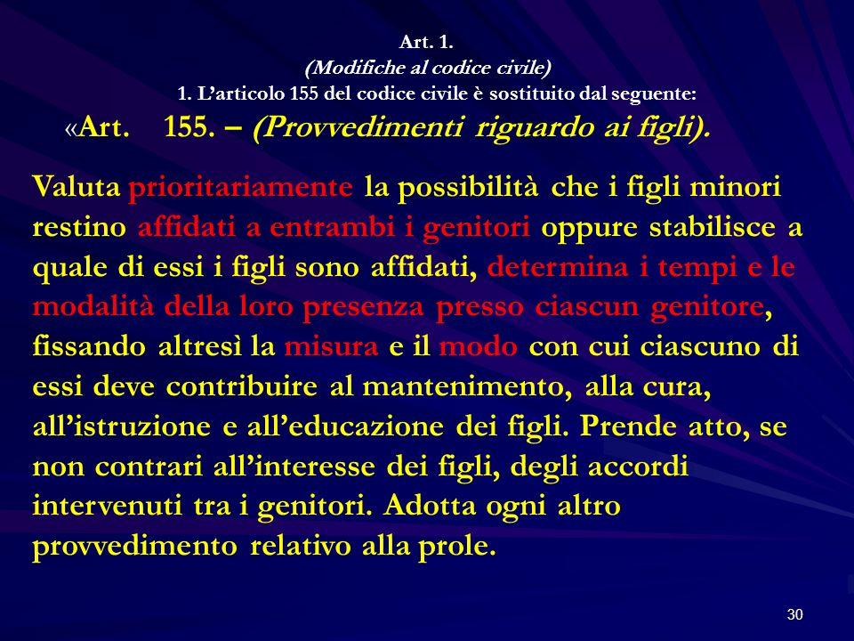 «Art. 155. – (Provvedimenti riguardo ai figli).
