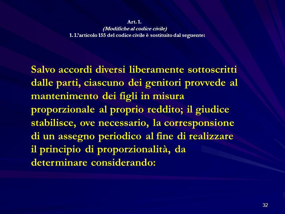 Art. 1.(Modifiche al codice civile) 1. L'articolo 155 del codice civile è sostituito dal seguente:
