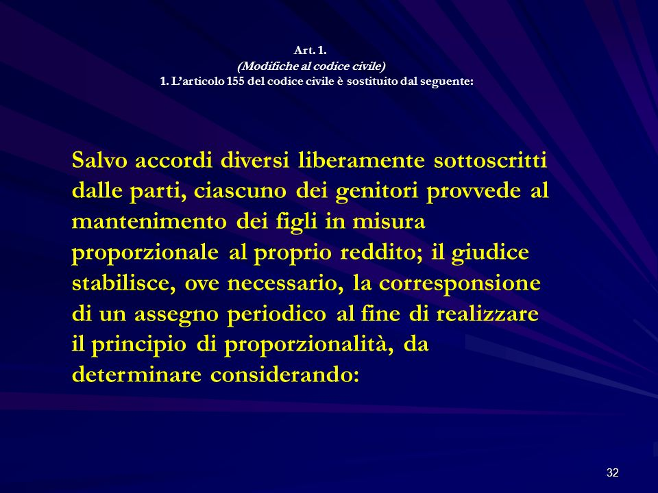 Art. 1. (Modifiche al codice civile) 1. L'articolo 155 del codice civile è sostituito dal seguente: