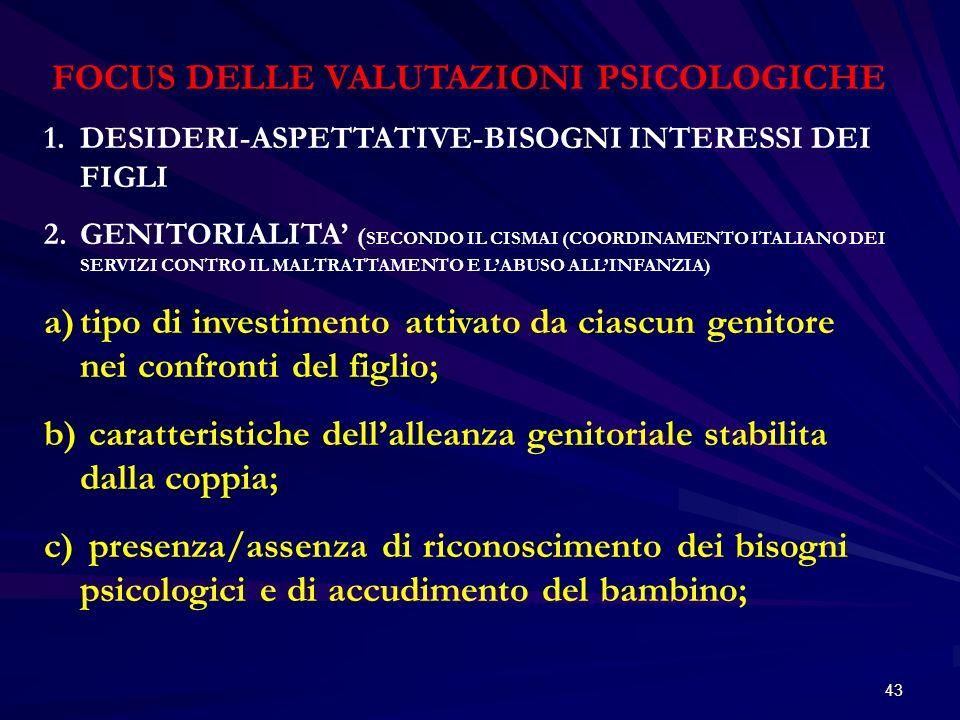 FOCUS DELLE VALUTAZIONI PSICOLOGICHE