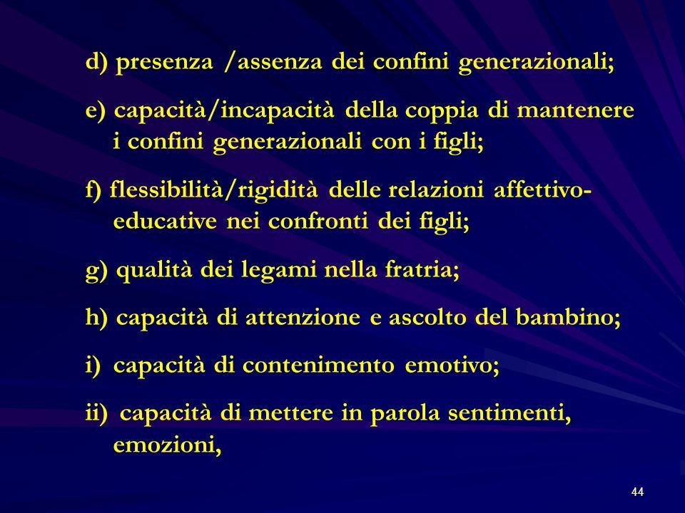 d) presenza /assenza dei confini generazionali;