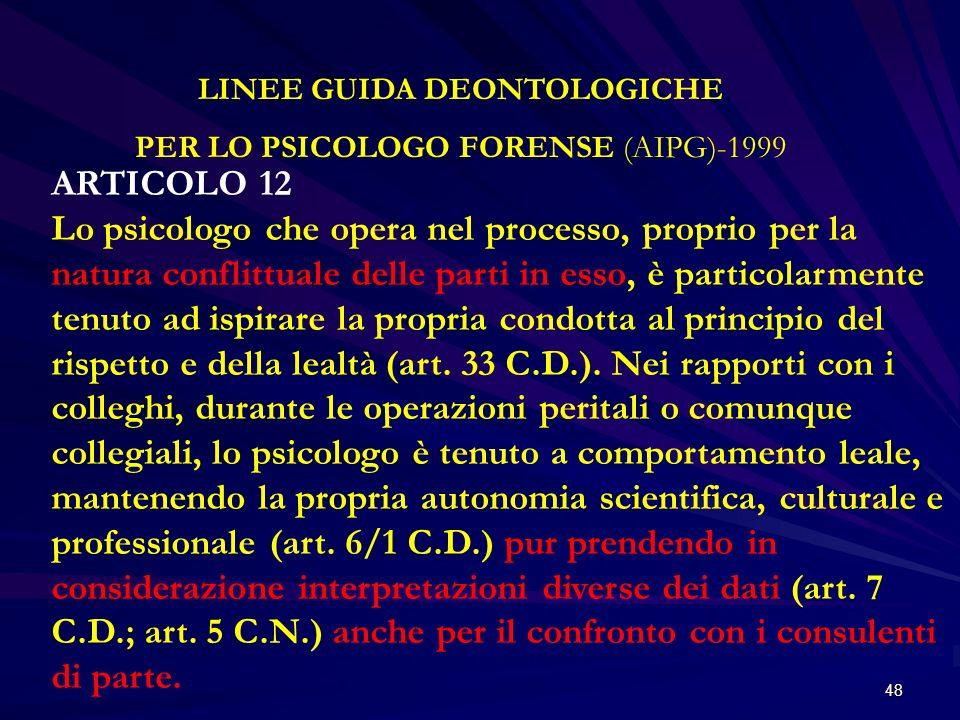 LINEE GUIDA DEONTOLOGICHE