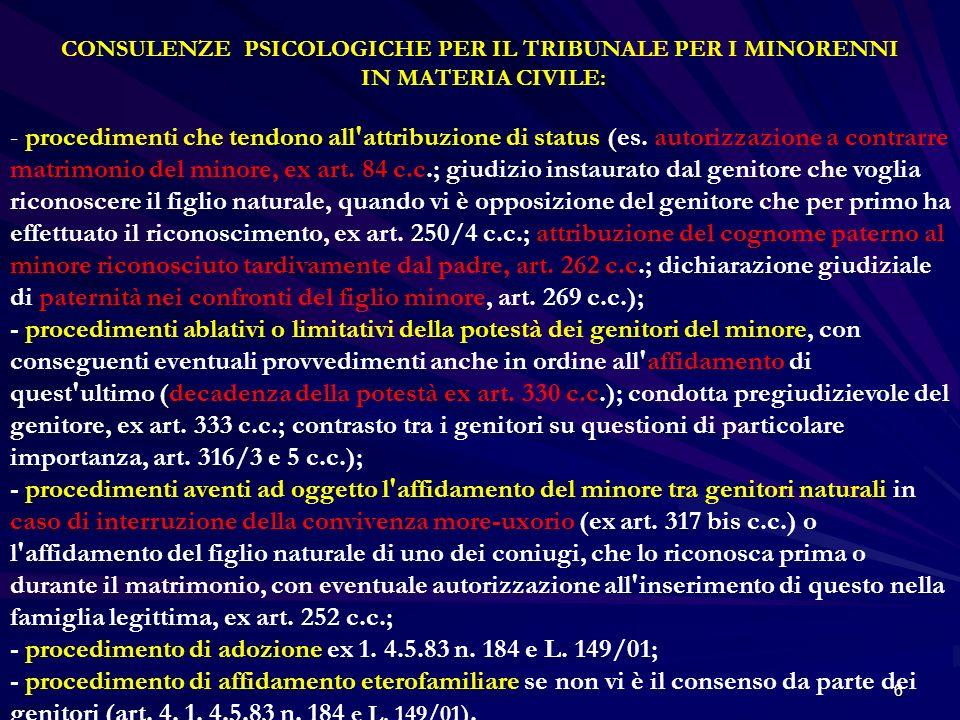 CONSULENZE PSICOLOGICHE PER IL TRIBUNALE PER I MINORENNI