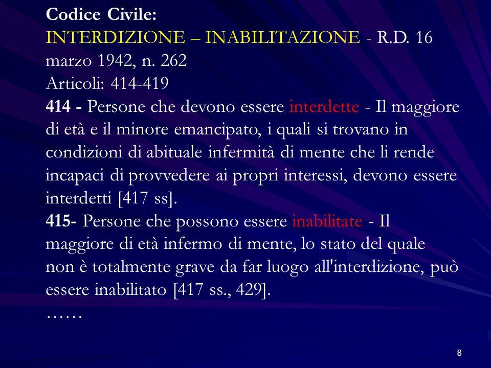 Codice Civile: INTERDIZIONE – INABILITAZIONE - R. D. 16 marzo 1942, n