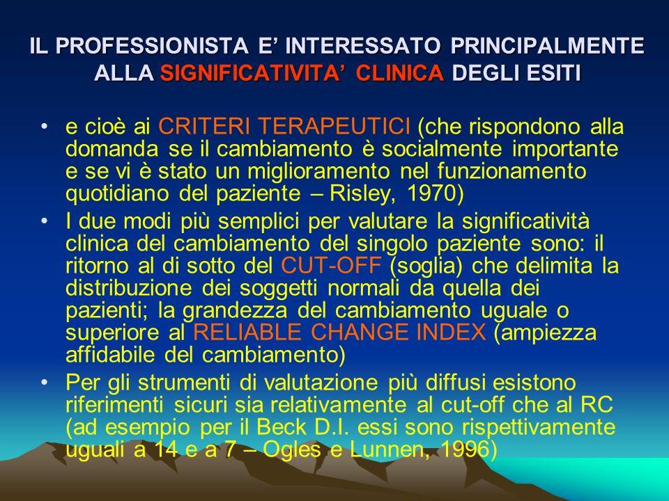 IL PROFESSIONISTA E' INTERESSATO PRINCIPALMENTE ALLA SIGNIFICATIVITA' CLINICA DEGLI ESITI