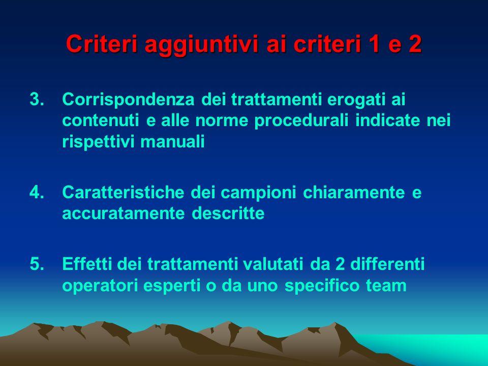 Criteri aggiuntivi ai criteri 1 e 2