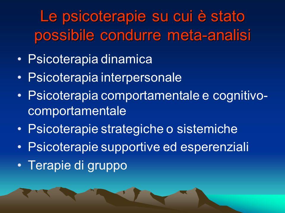 Le psicoterapie su cui è stato possibile condurre meta-analisi