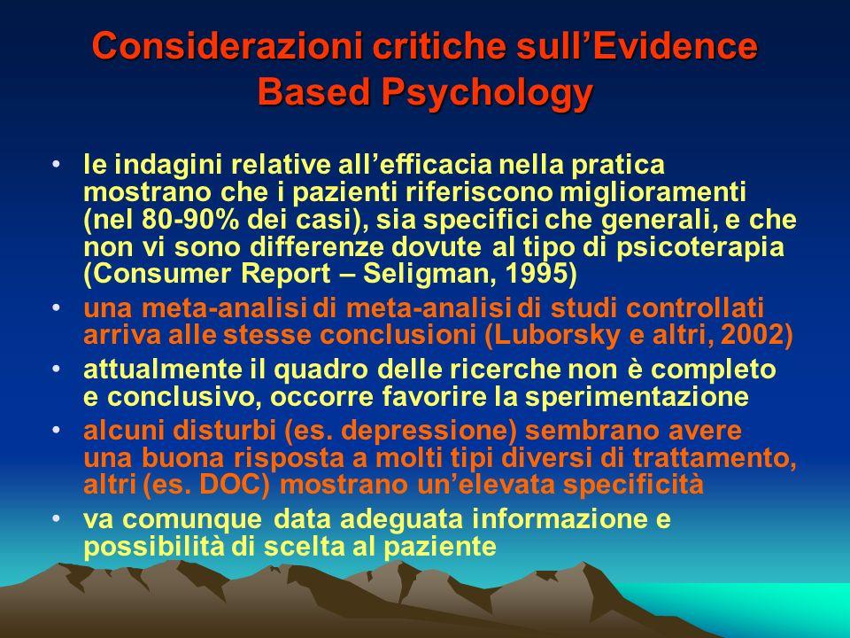 Considerazioni critiche sull'Evidence Based Psychology